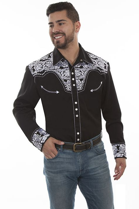 Men/'s Scully New Floral Embroidery  Western Cowboy Rodeo Retro Shirt Silver