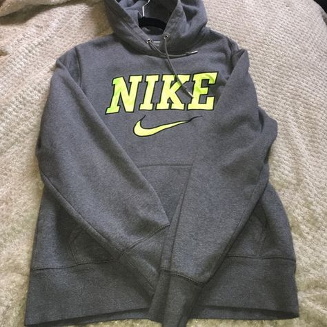 grey and neon green nike hoodie