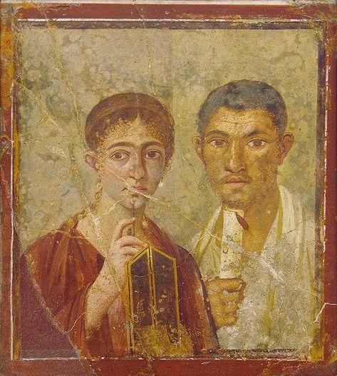 Fresco from Pompeii ~ Paquius Proculus or Terentius Nero