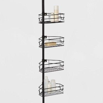 Steel Corner Tension Pole Caddy Matte Black Made By Design