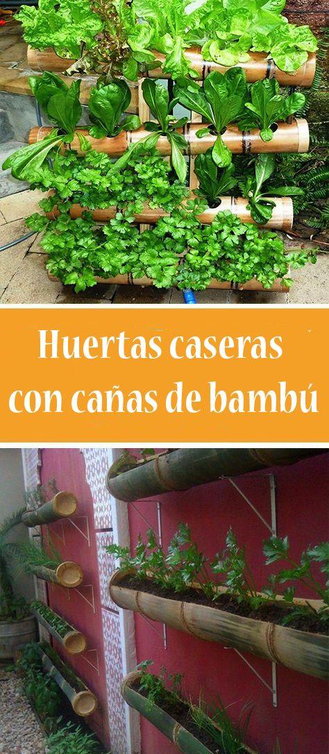 Huertas Caseras Con Cañas De Bambú Huerta Huerta En Macetas Huerto Casero