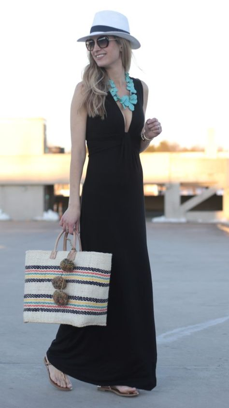 spring outfit idea: black deep cut maxi dress with Panama hat Source by outfits