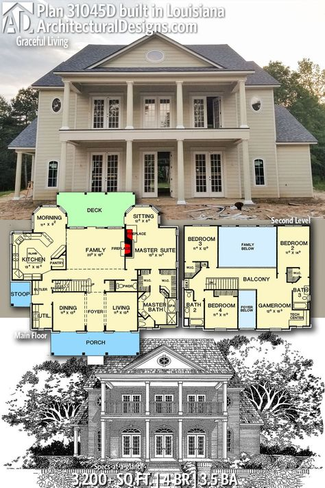 Architectural Designs Home Plan 31045D comes to life in Louisiana! This home gives you 4 bedrooms, 3.5 baths and 3,200+ sq. ft. Ready when you are! Where do YOU want to build? #31045D #adhouseplans #architecturaldesigns #houseplans #architecture #newhome #newconstruction #newhouse  #homeplans #architecture #home #homesweethome