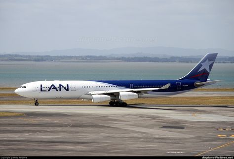 LAN Airlines Airbus A340-300. Yum!! I love this paint job. And it's the national airline of Chile.