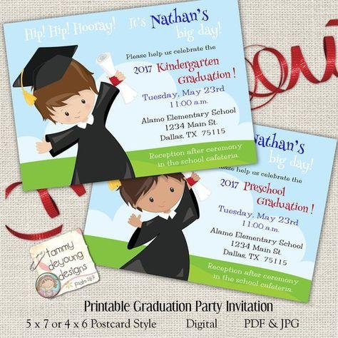 Digital Boys Graduation Invitation, Kindergarten Graduation ...