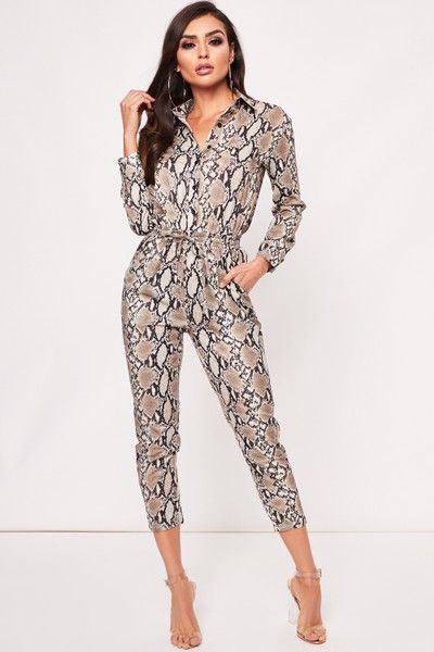 superior materials so cheap hot product Emma Beige Snake Print Jumpsuit | Women's Fashion in 2019 ...