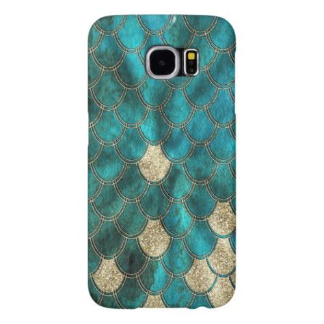 Aqua green Mermaid Scales with gold glitter Samsung Galaxy S6 Case
