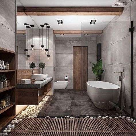 """""""Browse photos of Small Bathroom Tile Design. Find suggestions and inspiration for Small Bathroom Tile Design to enhance your house. Contemporary Interior Design, Modern Bathroom Design, Bathroom Interior Design, Bath Design, Spa Design, Interior Modern, Contemporary Bathrooms, Minimal Bathroom, Tile Design"""