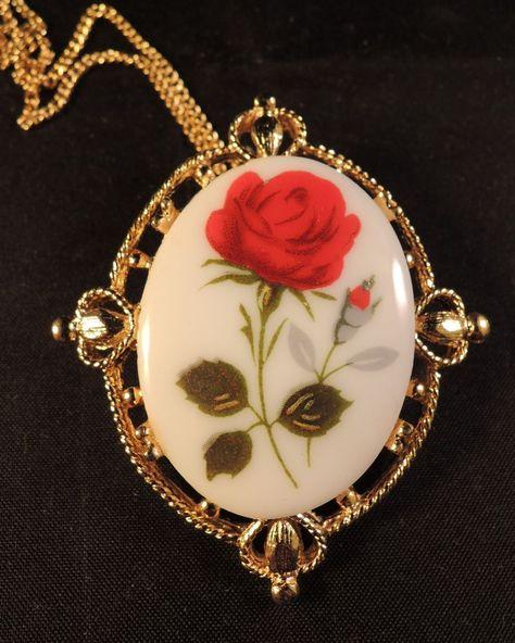 Vintage Elegant Porcelain Rose Pin Lovely