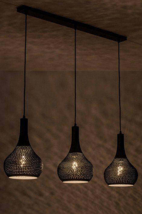 Artikel 73286 Trendy Hanglamp Met Drie Kappen Voorzien Van Een Industriele Vleug Deze Topper Is Gemaakt Van Me Hanglamp Landelijke Lampen Eettafel Verlichting