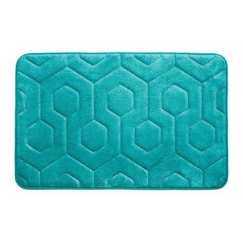 Hexagon Turquoise 17 In X 24 In Memory Foam Bath Mat Memory Foam Bath Mats Memory Foam Bath Rugs Bath Rug
