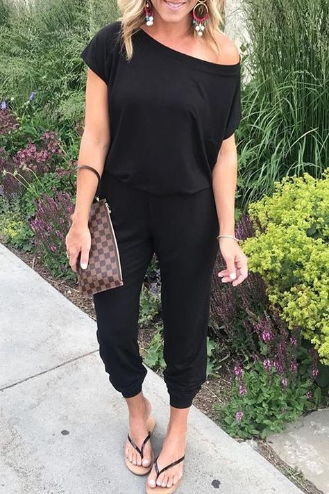 Solid Short Sleeve Jumpsuits & Rompers Fashion girls, party dresses long dress for short Women, casual summer outfit ideas, party dresses Fashion Trends, Latest Fashion #