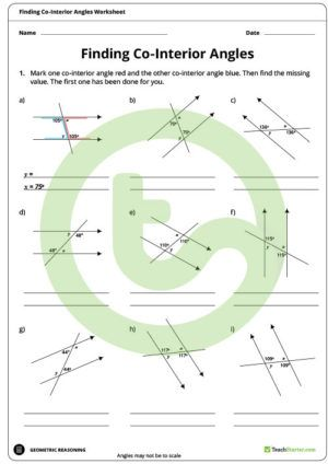 Finding Co Interior Angles Worksheet Angles Worksheet Worksheets Teaching Math