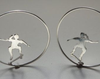 Skaters girls - Pendientes-skaters-monopatin-handmade-joyeria artesanal-joyeria-personalizada-aros-earrings-plata-sirver