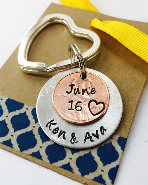 Hand Stamped Penny KeyChain - Special Date, Anniversary, Personalized Keychain, Heart Key Ring