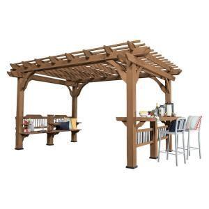 Backyard Discovery Oasis 14 Ft X 10 Ft Barnwood Cedar Wooden Pergola 1706514com Cedar Pergola Pergola Patio Outdoor Pergola