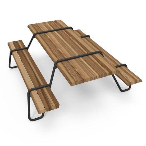 Tavolo Giardino Legno Massiccio.Set Tavolo E Panca Moderno In Acciaio In Legno Massiccio Da