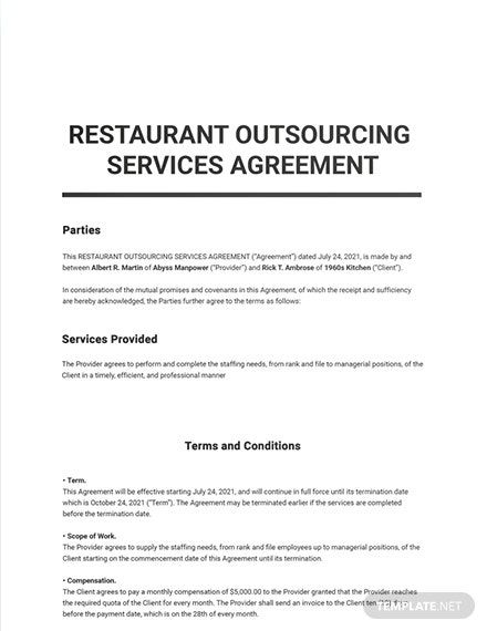 Restaurant Outsourcing Services Agreement Template Outsourcing Word Doc Templates