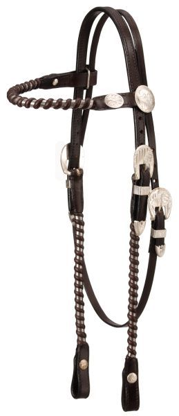 Western Horse Premium Leather Silver Show Headstall Bridle Light OR Dark Oil