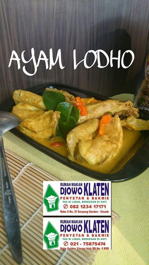 Rumah Makan Djowo Klaten Ayam Lodho Makanan Ayam Resep Masakan