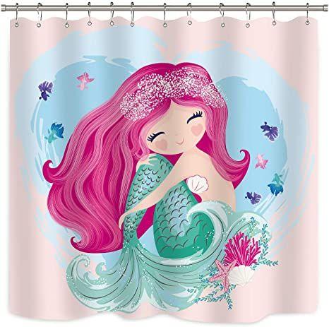 riyidecor cute mermaid shower curtain