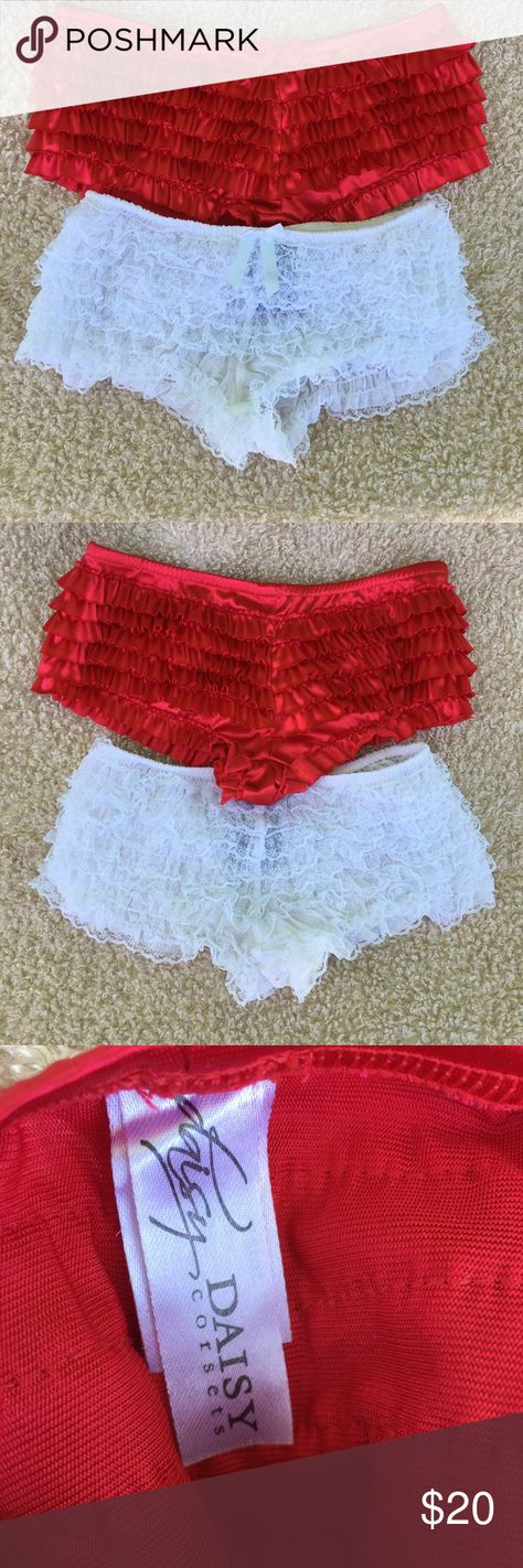 a9d15edeb RED SATIN RUFFLE AND WHITE LACE RUFFLE BOYSHORTS S RED SATIN RUFFLE AND  WHITE LACE RUFFLE