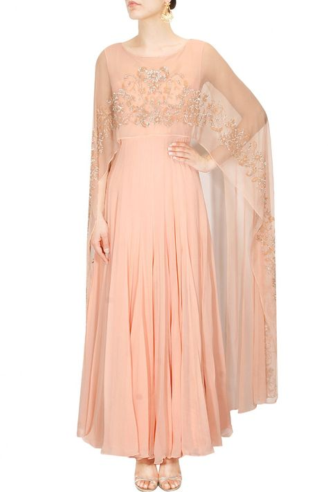 485d57e21ffc Pastel pink tonal embroidery cape anarkali set available only at Pernia's  Pop Up Shop.