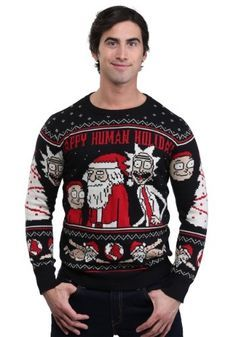 ab2714a1d3bc Rick and Morty Happy Ugly Xmas Sweater, Holiday Sweater, Christmas Sweaters,  Men Sweater