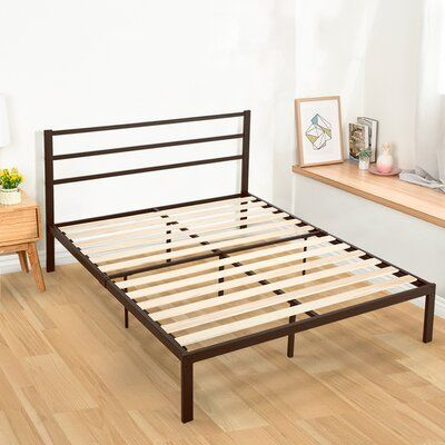 Winston Porter Hertwig Metal Platform Bed Size Queen Colour Chocolate In 2020 Metal Platform Bed Platform Bedroom Platform Bed