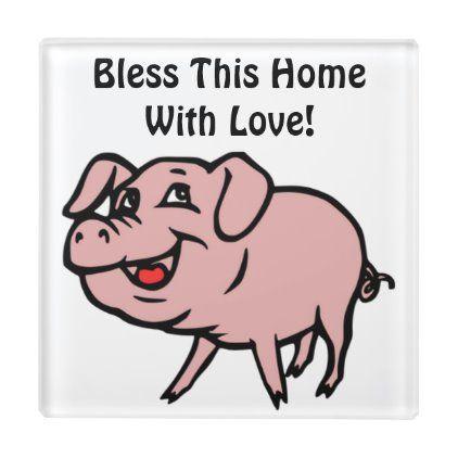 Bless This Home Pig Coaster Farm Animals Decor Pig Decor Animal Decor
