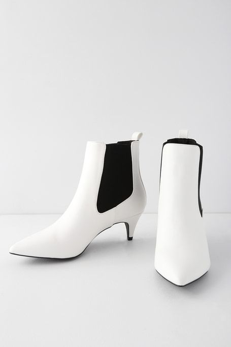 Kittie White Kitten Heel Pointed Toe Ankle Boots Kitten Heel Ankle Boots Kitten Heels Heels