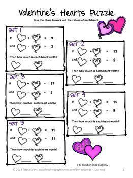 Valentine S Day Free Valentine S Math Puzzles Valentines Day Activities Math Valentines Valentines School