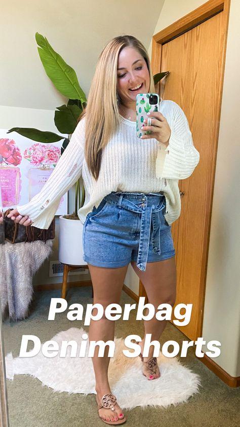 Paperbag Denim Shorts