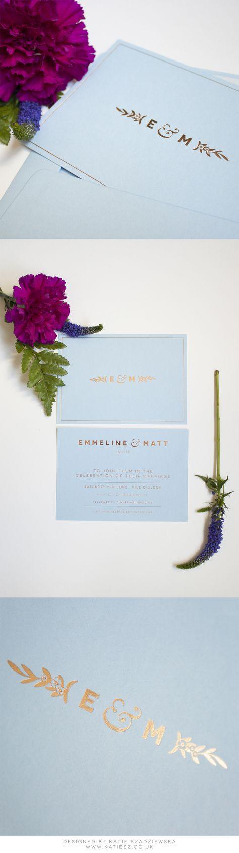 Elegant, Minimal & Modern Forget-Me-Not Floral Wedding Invitation. Colorplan Azure Blue with Rose Gold foil by www.paperbowlondon.com