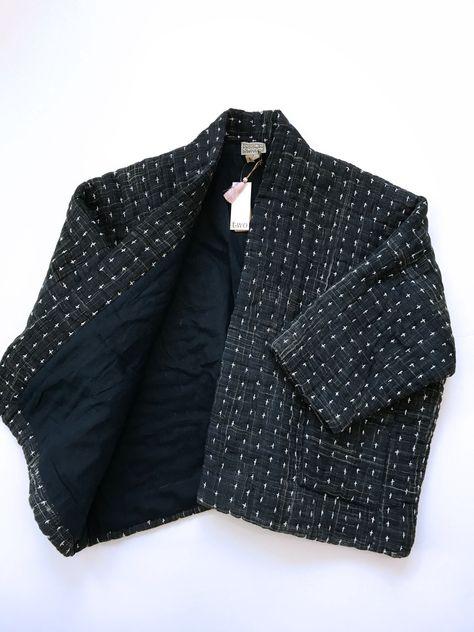 Neeru Kumar Blanket Kantha Jacket in Indigo on Garmentory Blanket Jacket, Kimono Jacket, Anita Dongre, Fall Outfits Pinterest, Indian Jackets, Diy Vetement, Embroidery On Clothes, Classic Wardrobe, Textiles