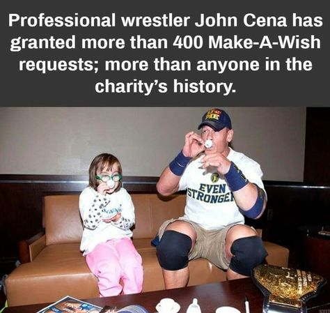 Professional wrestler John Cena has granted more than 400 Make-A-Wish requests; more than anyone in the charity's history. Sweet Stories, Cute Stories, Feel Good Stories, John Cena, Your Smile, Make You Smile, Make A Wish Foundation, Human Kindness, Faith In Humanity Restored