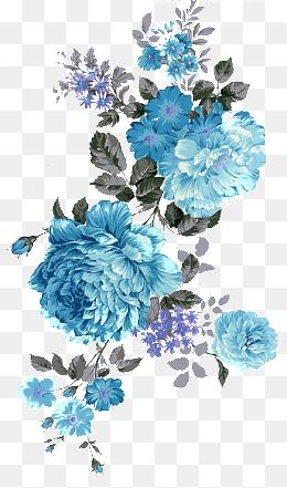 Peony Blue Black Leaf Blue Flowers Hand Painted Black Leaf Flowers Hand Painted Flowers Clipart Flower Png Images Free Watercolor Flowers Blue Flower Png