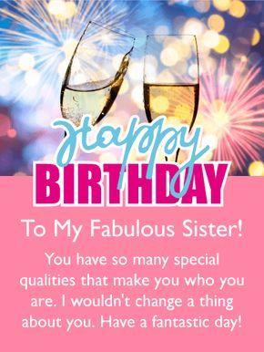 Celebration Drinks Happy Birthday Card For Sister Birthday Greeting Cards By Davia Birthday Messages For Sister Birthday Greetings For Sister Birthday Wishes For Sister