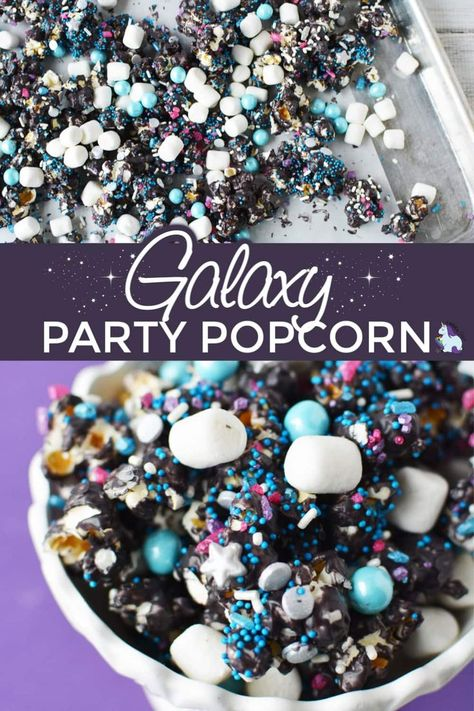This recipe for galaxy party popcorn is obviously on the sweet end of the taste spectrum. However, if you use salted popcorn as the base,