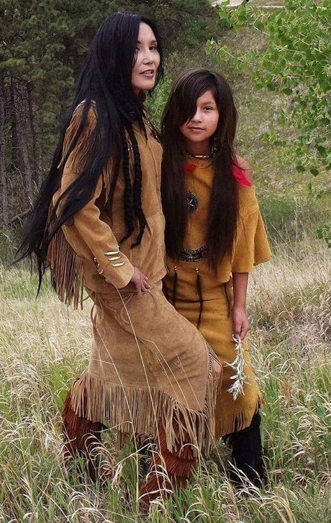 A Native American Lakota Sioux Indian woman in leather