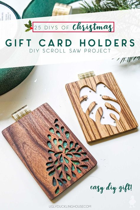 SO cute! These DIY wood gift card holders can be made with a scroll saw and this FREE downloadable template! When you don't know precisely what to get someone or they prefer to get their own gift, you can still inspire their spending with a custom gift card design. #giftcard #diy #scrollsaw #woodworking #christmas #giftideas #coworkergifts #giftsforher #giftsforhim #giftsforparents