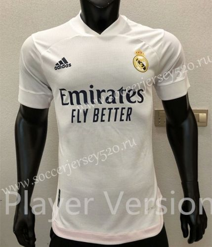Player Version 2020 2021 Real Madrid Home White Thailand Soccer Jersey Aaa Cs In 2020 Soccer Jersey Madrid Football Club Soccer