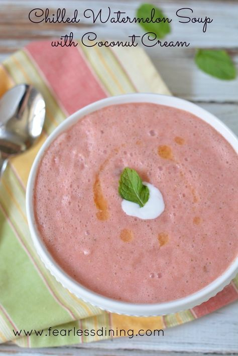 This chilled watermelon soup with coconut cream is cool and refreshing for those hot summer days. Ready in just 5 minutes. Dairy free, gluten free, vegan.