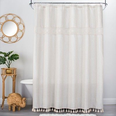 Solid Crochet With Tassels Shower Curtain Tan Opalhouse White Shower Curtain Bathroom Shower Curtains Bathroom Styling