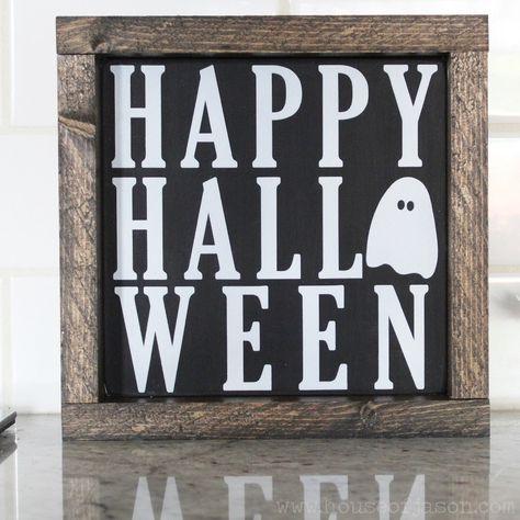 Happy Halloween Hand Painted Wooden Sign   8 x 8