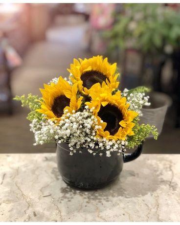 Mug Full Of Sunshine Flower Arrangement Sunflowers Flowers Spring Gift Princeto Sunflower Floral Arrangements Sunflower Arrangements Flower Arrangements