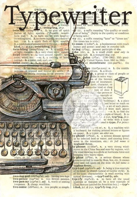 Typewriter Mixed Media Drawing on Distressed, Dictionary Page