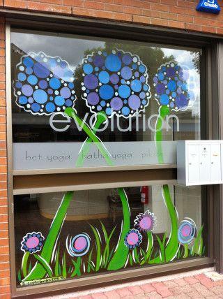 Spring Summer Window Paintings Graphic Garden Design Studio Window Painting Summer Window Window Art