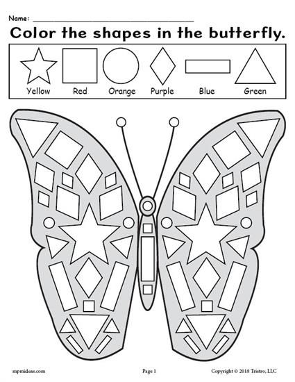 Free Printable Kindergarten Butterfly Shapes Worksheet Practice Shape Recognition Fine Shapes Worksheet Kindergarten Shape Coloring Pages Shapes Kindergarten