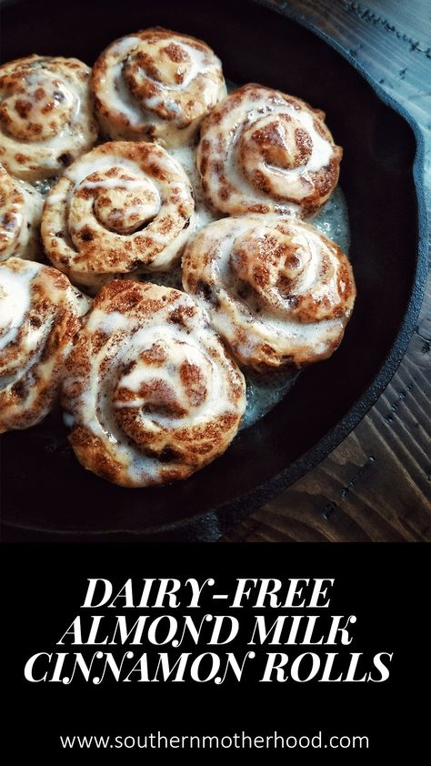 Almond Milk Dairy-Free Cinnamon Rolls - Southern Motherhood - Almond Milk Dairy-Free Cinnamon Rolls featured on Southern Motherhood Magazine by the southern moth - Donut Recipes, Dessert Recipes, Dairy Recipes, Paleo Dairy, Recipes Dinner, Easy Desserts, Healthy Recipes, Almond Milk Recipes, Almond Milk Desserts